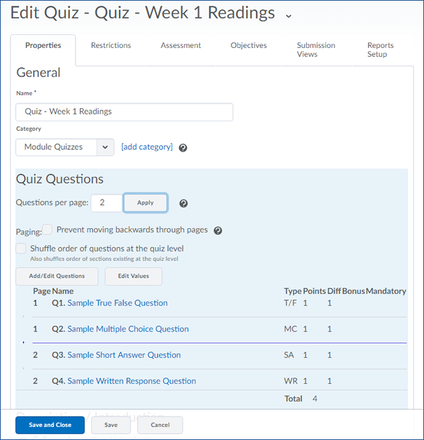 Creating Quizzes | Centre for Innovation and Excellence in