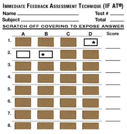 immediate feedback assessment technique scratch card