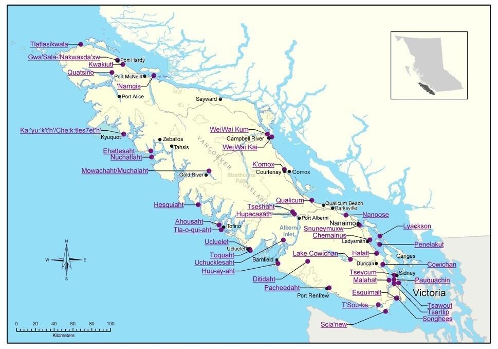 Map of Vancouver Island of First Nations