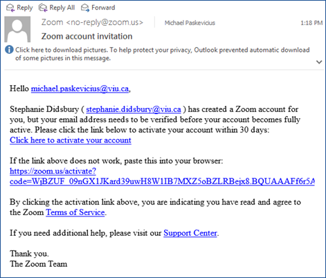 Zoom account invitation email