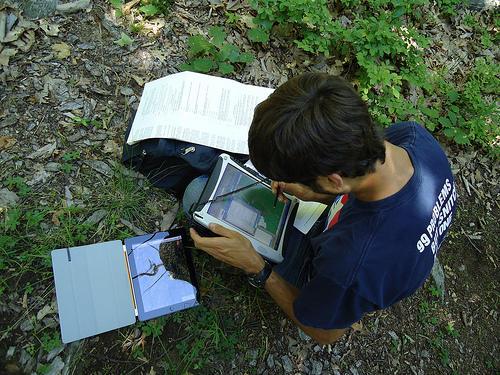 Tablet being used in fieldwork